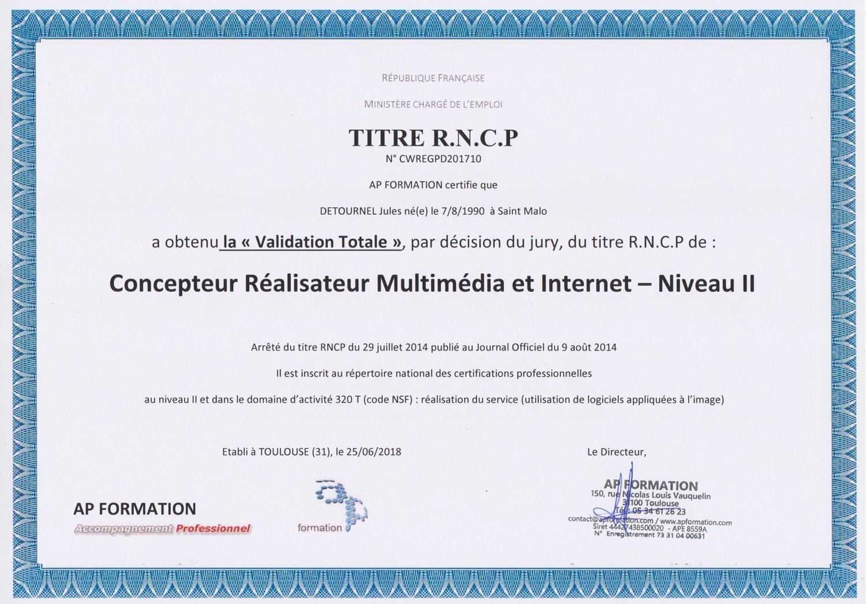 Titre RNCP de Concepteur Réalisateur Multimédia et Internet