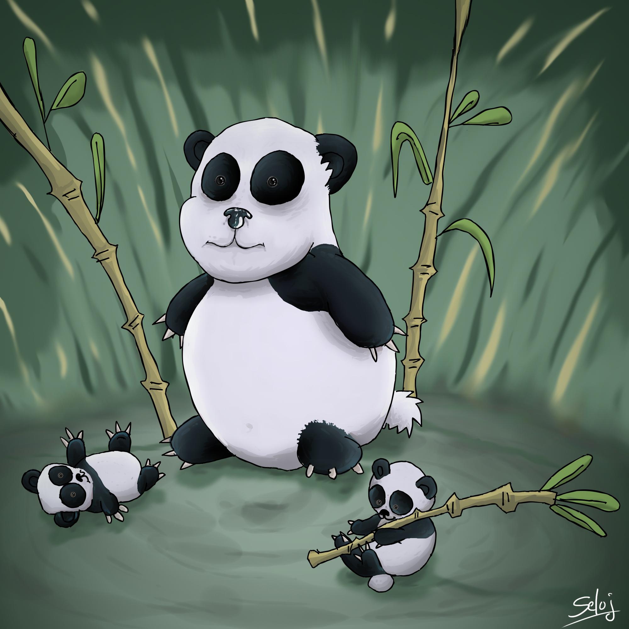 Panda et ses petits tout mignons !!